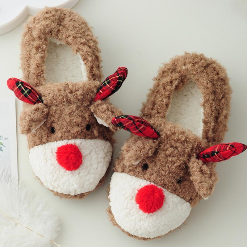Winter Women Slippers Female Cute Christmas Fluffy Slippers House Indoor Shoes Ladies Warm Fur Slides Zapatos Mujer qweek women home animal slippers fur indoor rabbit slippers warm ladies cute funny adult slippers female slide house shoes