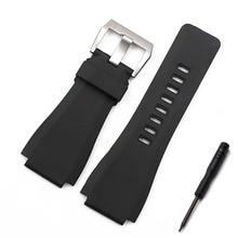 Rubber strap mens watch accessories pin buckle for Bell Ross BR01 sports waterproof bracelet men band
