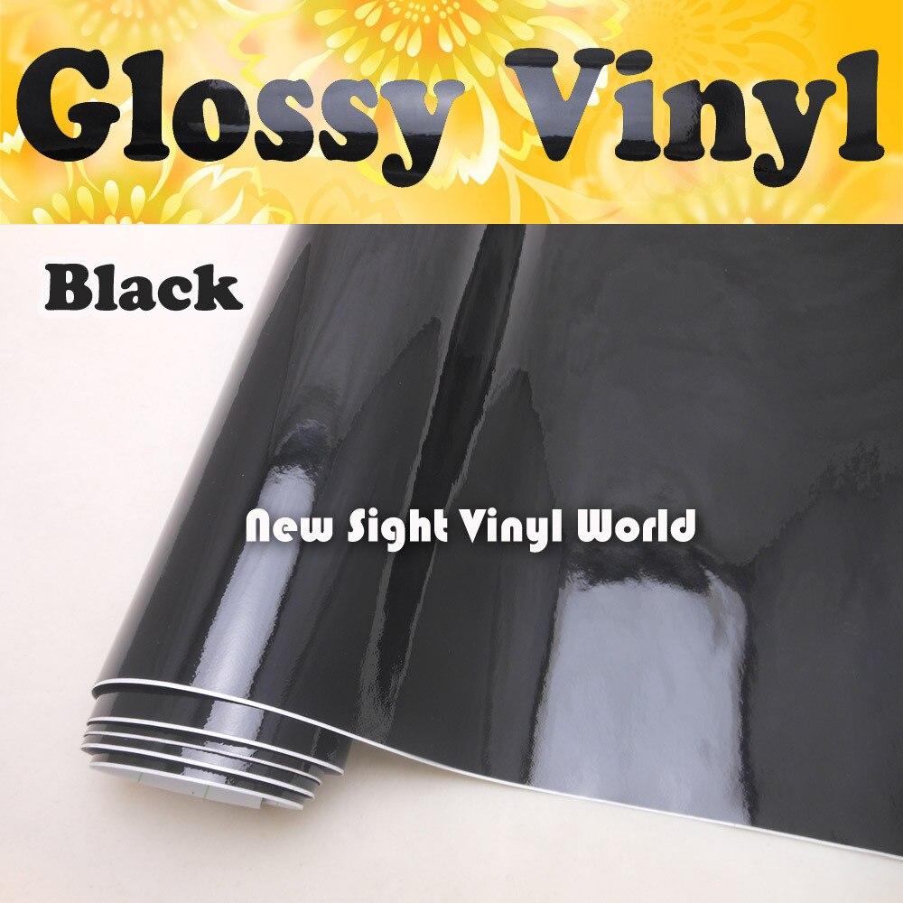 Haute qualité haute brillance vinyle noir Wrap noir brillant Wrap Film Air bulle libre pour les enveloppes de véhicule taille: 1.52*30 m/Roll