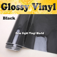 Wholesale Price Glossy Black Vinyl Air Bubble Free For Vehicle Wraps FedEx FREE SHIPPING Thickness 0