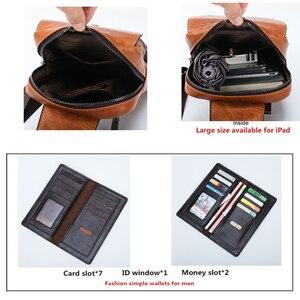 Image 4 - JEEP BULUO Männer Brust Tasche 2 stücke Set Hohe Qualität Split Leder Unisex Crossbody Sling Tasche Für iPad Große Größe mann der Reisetasche Marke