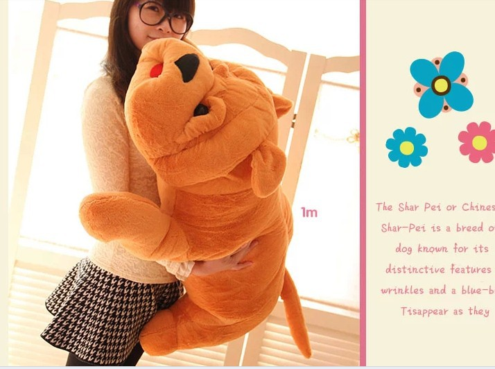 stuffed animal shar pei dog plush toy about 100cm Lies prone dog  doll 39 inch throw pillow toy b9220 fancytrader 120cm super lovely jumbo plush shar pei dog toy large dog doll sleeping pillow gift for child free shipping ft50048