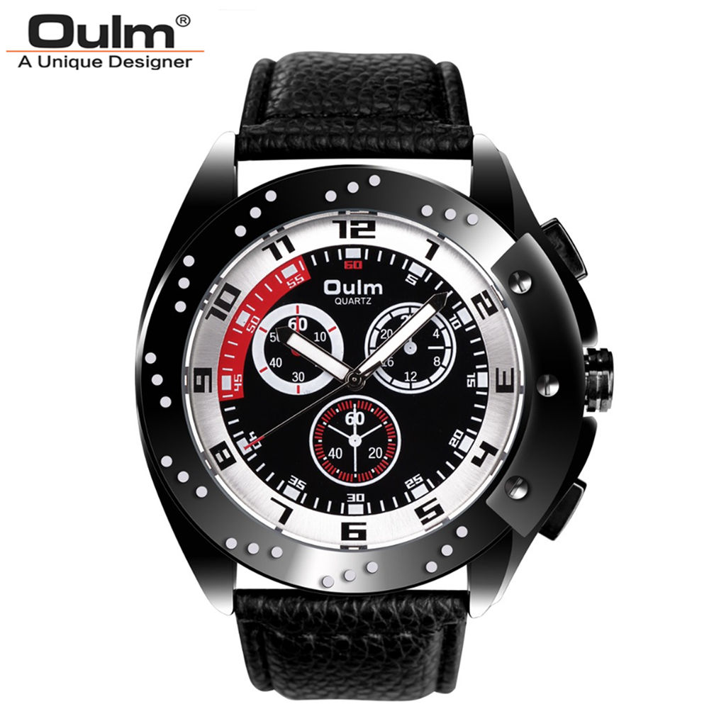 Oulm Brand Vogue Men Leather Strap Quartz Watch Waterproof Big Dial Alloy Male Wristwatch With 3 Small Dials For Decoration oulm multi function dual movt leather wrist watch with quartz dial for male