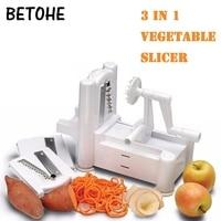 3 in 1 Vegetable Fruit Spiral Slicer portable Spiralizer manual Chopper Cutter Twister hand apple Peeler Kitchen slicing machine
