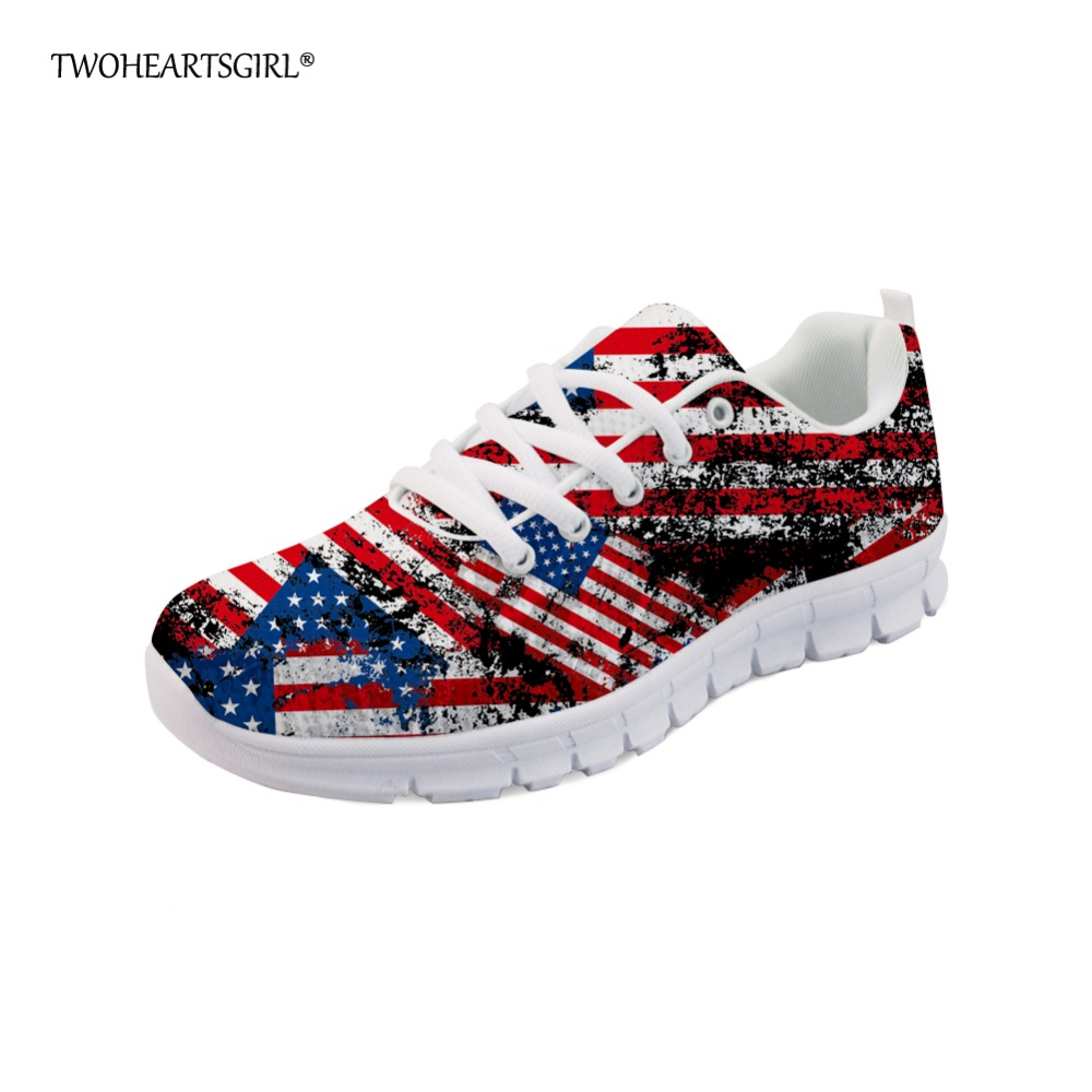 Twoheartsgirl Classic Printing Uk Usa Flag Sneakers Women Lace Up Flats Breathable Female Ladies Mesh Shoes Novelty Femme Flats Shoes Women's Shoes