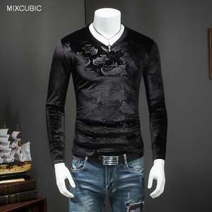 MIXCUBIC Autumn warm Unique stripe pattern Gold velvet T-shirts men casual slim pattern gold Velvet T-shirts for men,M-4XL