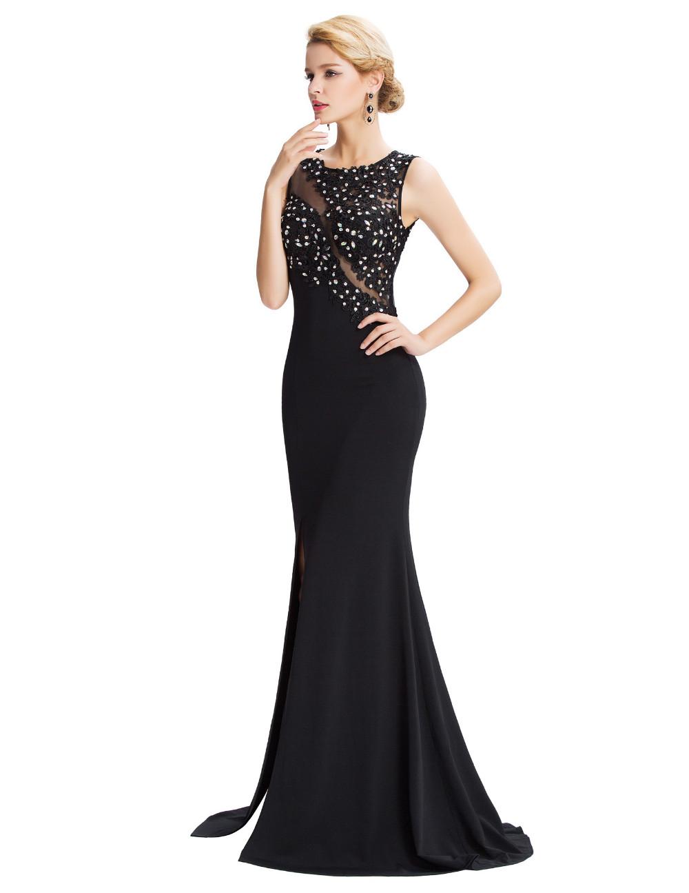 Grace Karin Sleeveless Black Mermaid Evening Dresses Floor Length Elegant Long Formal Dresses Robe De Soiree Sexy Evening Gowns 11