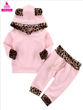 2019 New Newborn Baby Girl Clothes Pink Cute Romper Outfit Pants Set Hooded Long Sleeve Children Clothes 0-1 Bebe Girl Clothes