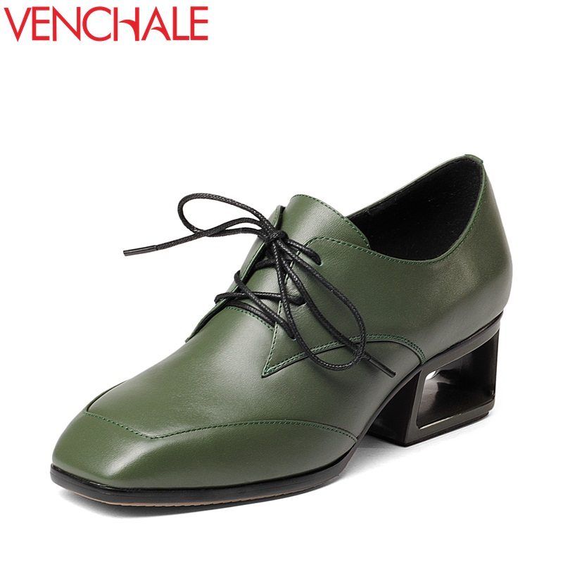 VENCHALE strange heels career square toe lace-up genuine leather shoes kitten heels female woman comfortable spats spring pumps my brilliant career