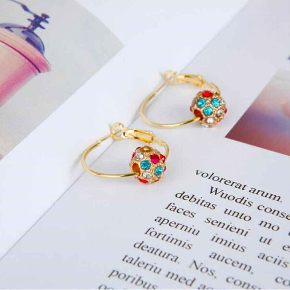 ファッションオーストリアのクリスタルボールゴールド/シルバーイヤリング高品質のイヤリング女性パーティー結婚式の宝石類ブークレ毛糸 · ダ · ペンドオレイルファム