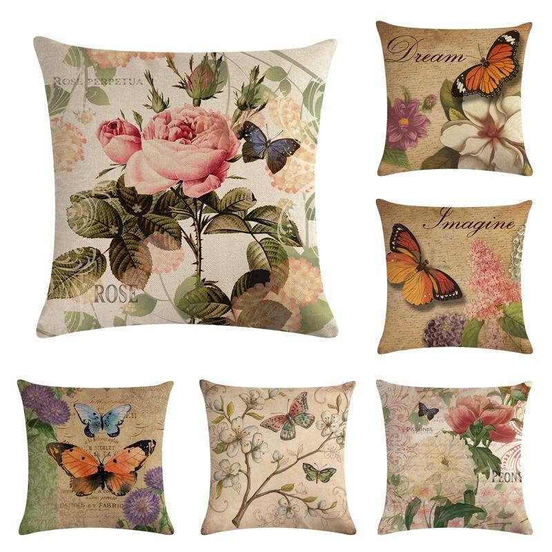 Vintage Flower Butterfly Cotton Linen Sofa Pillow Case Cushion Cover Home Decor