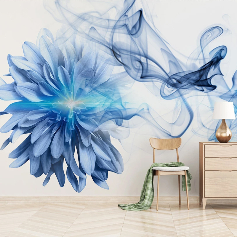 Custom Photo Wall Mural Waterproof Canvas Painting Modern Abstract Smoke Blue Flower Bedroom Room Wall Papers Home Decor Sticker