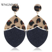 WNGMNGL Korean Leopard Print Drop Earrings Exaggeration Vintage Statement PU Leather Dangle For Women Fashion Jewelry