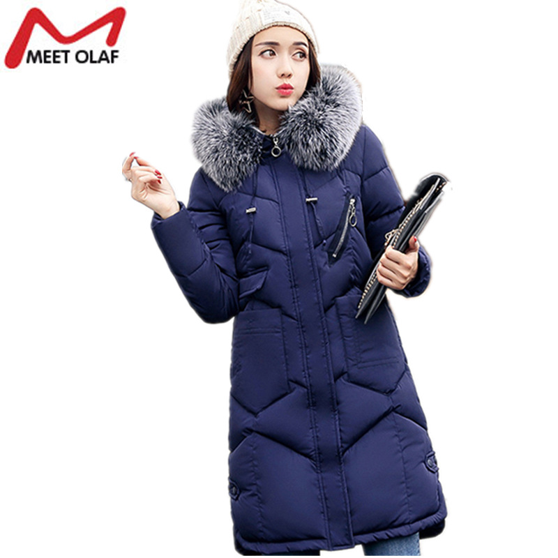 2017 New Winter Jackets and Coats For Women Knee length Long Thick Down Parkas Female Cotton Padded Outwear Ladies Coat Y1000 2017 new hooded women winter coats female winter down jackets cotton padded parkas autumn outwear abrigos mujer invierno y1488