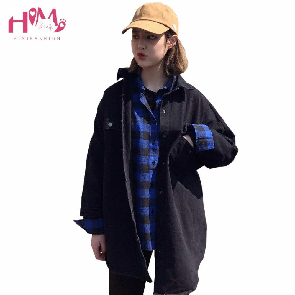 2017 Japanische Mode Frühling Frauen Denim Jacke Harajuku Schwarz Tasche Koreanische Kühlen Bf Stil Student Streetwear Mantel