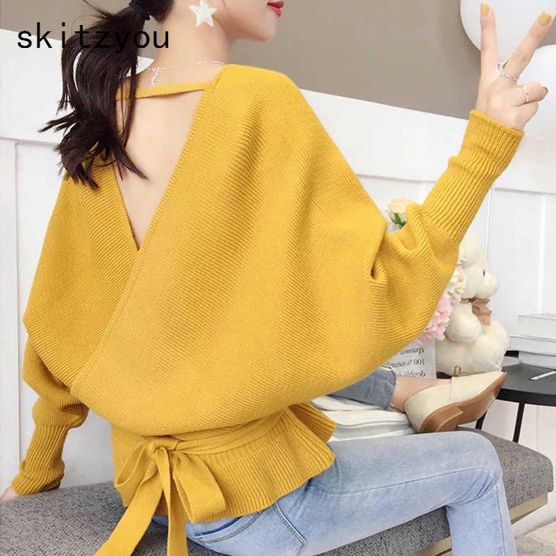 Skitzyou/пикантные Женские Повседневные вязаные свитера с открытой спиной и длинным рукавом; короткие пуловеры с v-образным вырезом; цвет черный, красный; джемперы с ремнями
