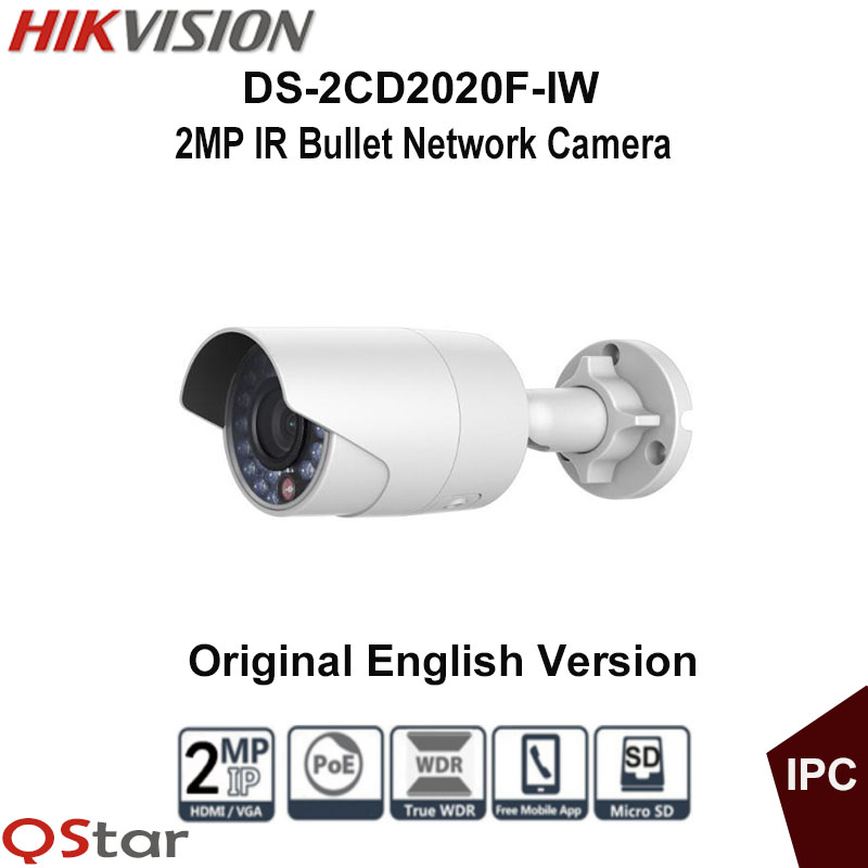 Hikvision Original English 1080P WIFI IP Camera DS-2CD2020F-IW POE 2MP IR Bullet CCTV Camera 30m Onvif CCTV Camera outdoor IP67 hikvision ds 2de7230iw ae english version 2mp 1080p ip camera ptz camera 4 3mm 129mm 30x zoom support ezviz ip66 outdoor poe