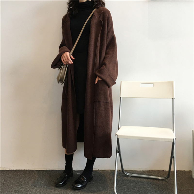 New Women Knitted Cardigan Coat Autumn Winter Fashion Turn down Collar Loose Pocket Sweaters Coats Female