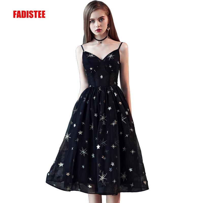 55434b807406 FADISTEE New arrival simple style dress evening dresses Vestido de Festa  tea-length little black dress lace frock long gown