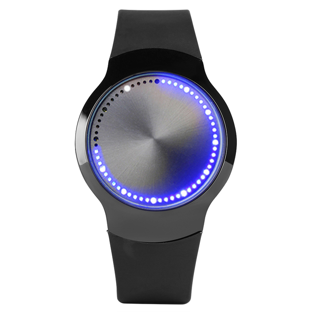12H Touch Screen LED Light Display Watch Silicone Band Sport Modern Men Womens Q
