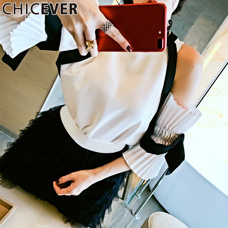 CHICEVER Sexy Off Shoulder Female T shirt For Women Tops Pleated Flare Sleeve Chiffon Summer T shirts Korean Clothes Fashion