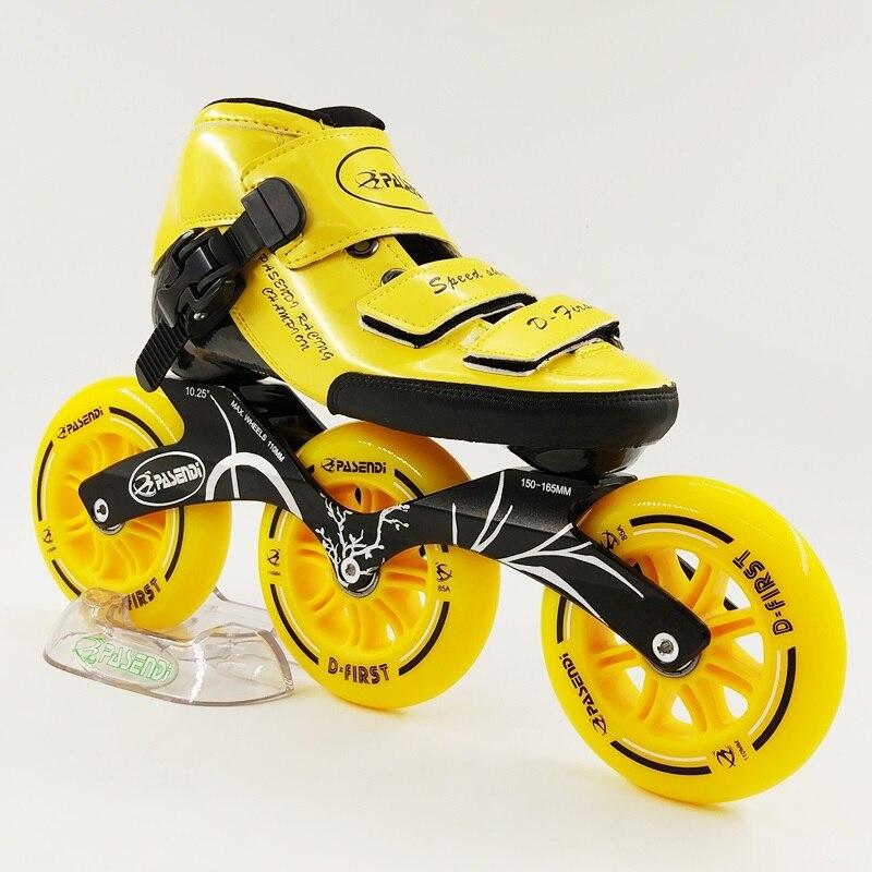 New Style 3 Big Wheels Inline Skates Boots Glass Fiber Roller Skate Professional High Speed Skating Shoes Kids Frame 10.25