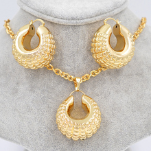 Sunny Jewelry Copper Ball Vehicle Wheel Big Hoop Women Vintage Jewelry Sets Dubai Fashion Earrings Pendant For Party Wedding