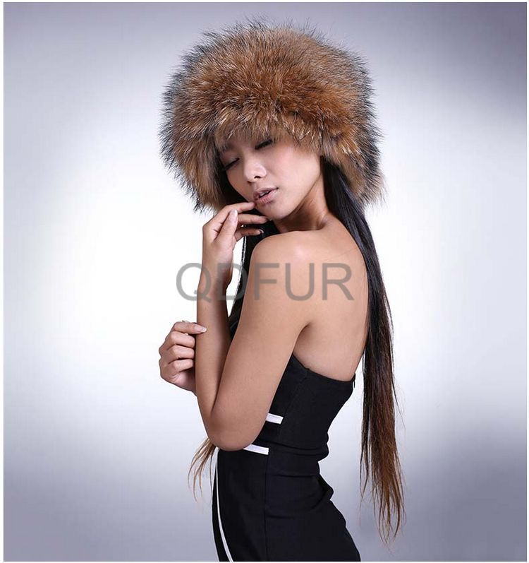 Genuine Racoon  Fur Winter Fashion  Cap Flat-top Cap in Stock  QD29540  Hot Sell roomble люстра racoon white