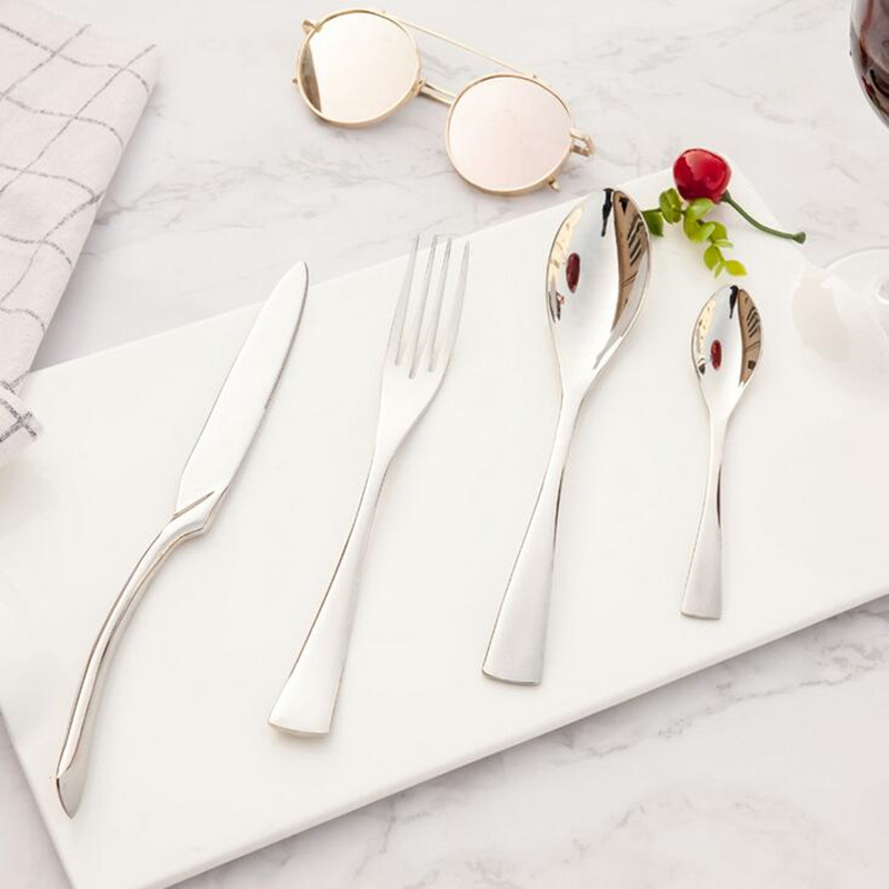 KTL 4-24 Pcs Mirror Light Dinnerware Set Top Quality Stainless Steel Dinner Tableware Knife Fork Teaspoon Silver Cutlery Set