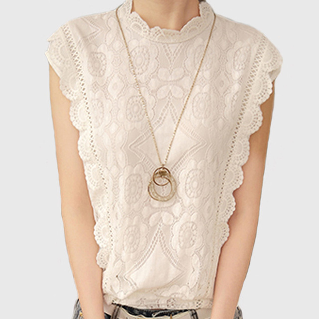 c0c72f4c796 2018 White Lace Top Sleeveless Shirt Women Summer Vintage Blusa Feminino  Crochet Casual Loose Women For Blouse Tops Blouses A351
