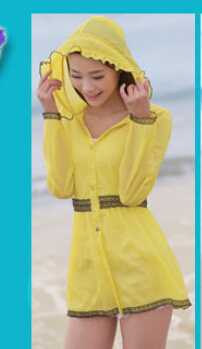 5 шт./лот женские ярких цветов одежда для защиты от солнца ультра-тонкий верхняя одежда ярких цветов повседневные пляжные толстовки - Цвет: yellow