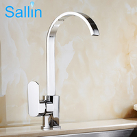 Direct Sale Chrome Brass Kitchen Faucet Cold Hot Water Kitchen Sink Faucet Square Shaped Swivel Spout Kitchen Sink Water Mixer