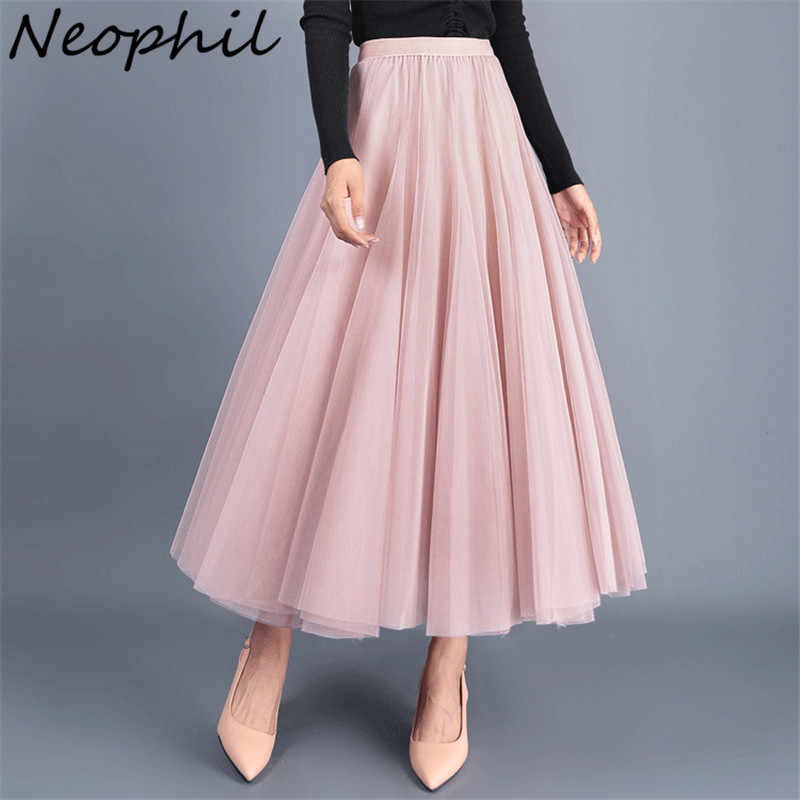 dc30984553 Neophil 2019 Women Tulle Midi Skirts 3 Layers Black Gray Mesh Puffy Pleated  High Waist Fashion
