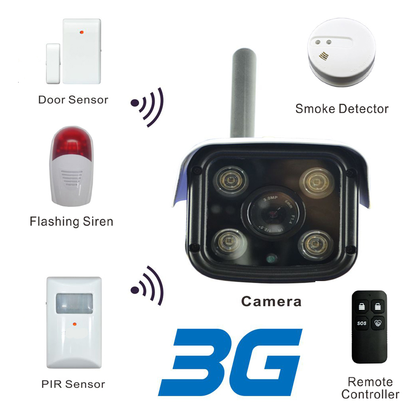 3G Mobile Bullet  IP Camera with WCDMA Network for 720P HD Live Stream & Max 256 Pcs of Wireless Alarm Sensor Supported Free APP streams of stream classifications