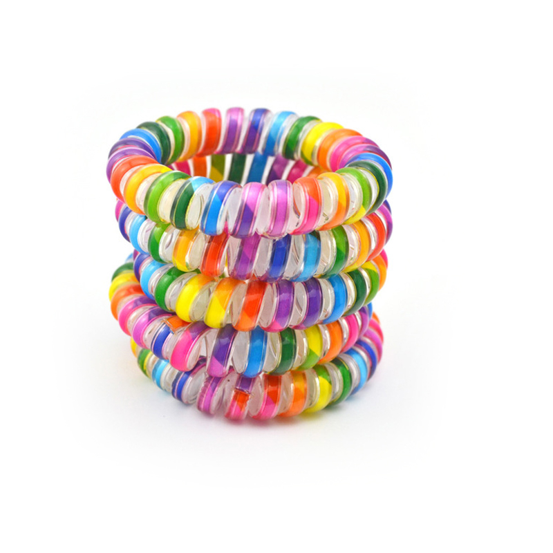 5Pcs/Lot Size 5.5CM Rainbow Colorful Hairwear Telephone Wire Hair Band Hair Rope Hair Accessories