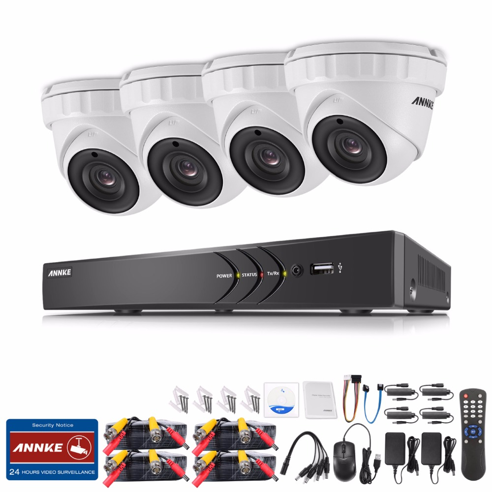 ANNKE 8CH 3MP CCTV System HDMI Hybrid CCTV DVR 4PCS 1920 1536 Outdoor Security Camera 3MP