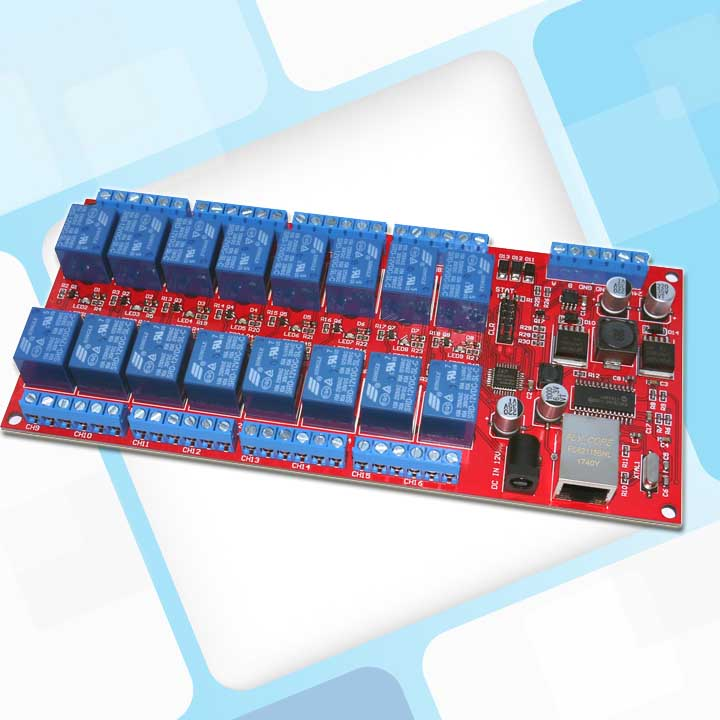 16 Channels Ethernet RS485 Relay Board ModBus TCP/RTU Gateway Cloud TCP UDP Android WeChat APP IP VB Delphi