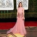 2017 Oscar Premios de la Academia Mundial de oro Rose Polvorienta Alfombra Roja se Viste Elegante Con Cuentas Mujeres Prom Vestidos de Noche de La Celebridad OE11