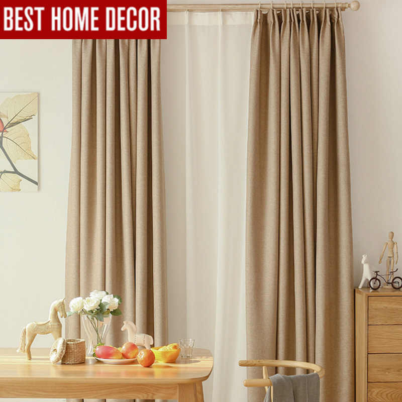 Modern linen blackout curtains for living room bedroom curtains for window drapes finished blackout window curtains 1 panel Door