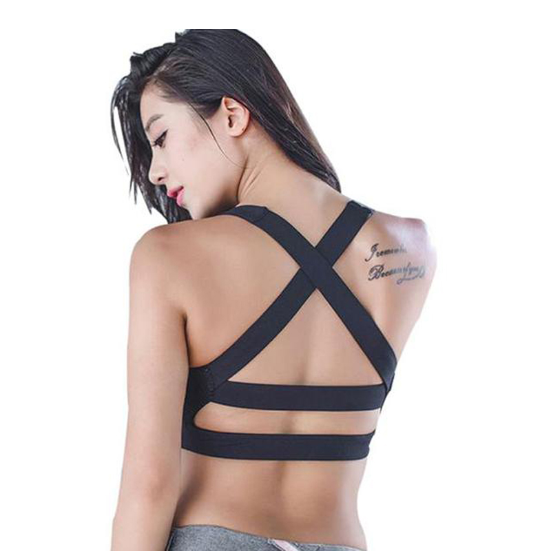 Cross Back Sports Bra Strap Yoga Bra Women Padded Push Up Quick Dry Fitted Gym Workout Fitness Crop Top Bras Debardeur Femme