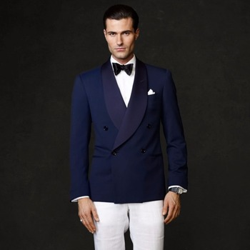 New Style Navy Blue Double Breasted Shawl Lapel Men Suit Formal Slim Fit 2 Piece Groom Tuxedos Blazer Masculino (Jacket+Pants)