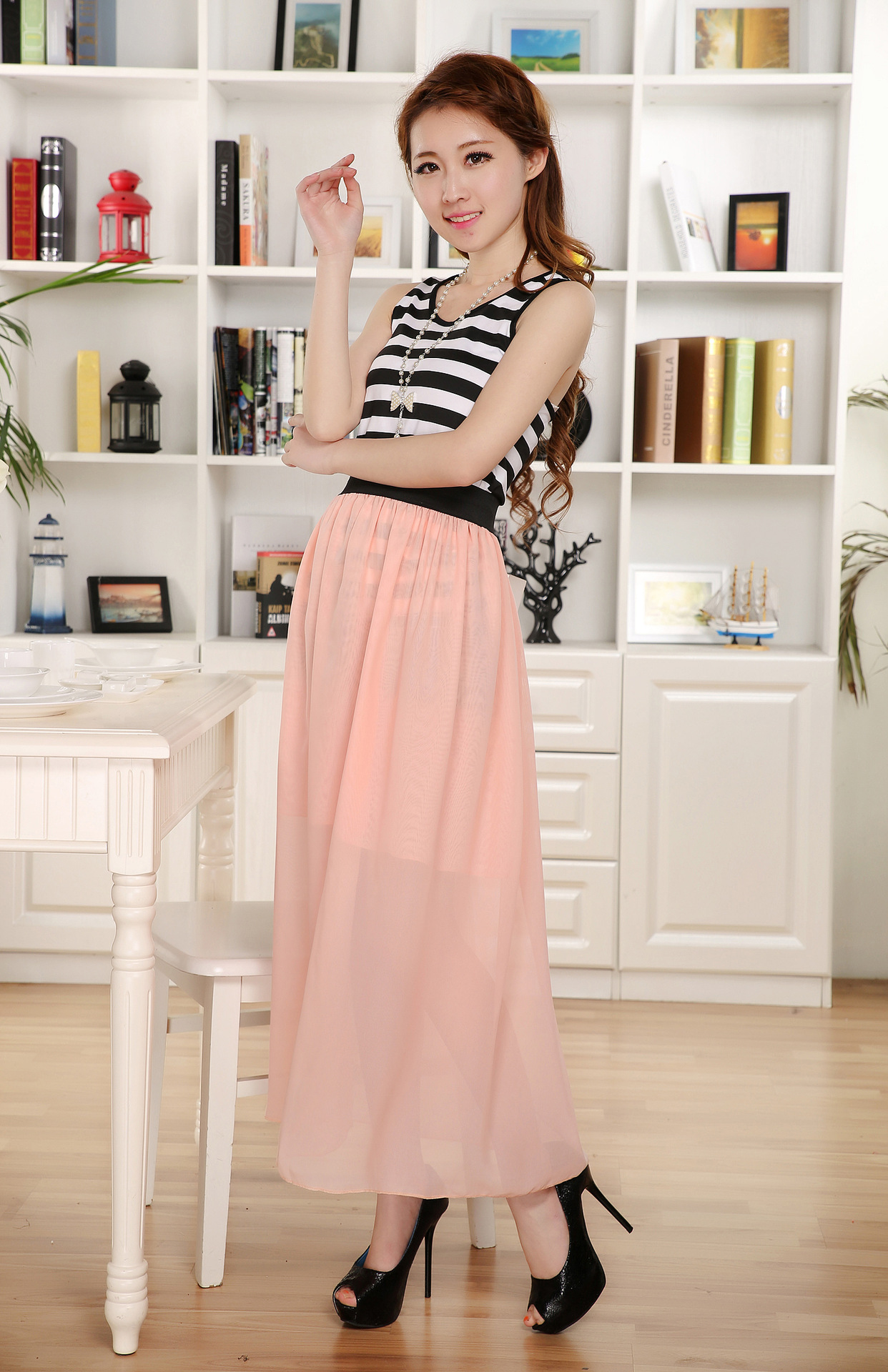 Image 3 - Free Shipping New Brand Designer Hot Sale Candy Colors High Quality Sexy Long Chiffon Skirt Pink Blue Black Red White Green C003-in Skirts from Women's Clothing