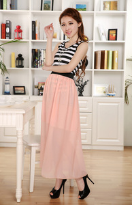 Image 3 - Free Shipping New Brand Designer Hot Sale Candy Colors High Quality Sexy Long Chiffon Skirt Pink Blue Black Red White Green C003