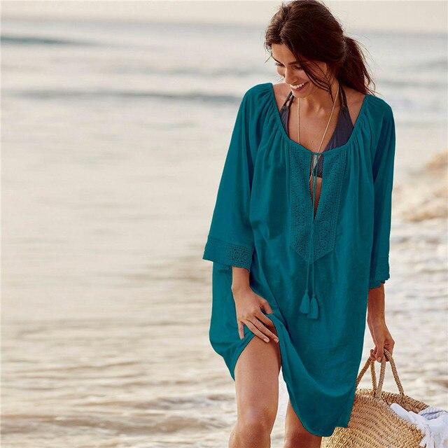 Swim suit cover up Lace Saida de Praia Feminino 2019 Tassel Beach Cover up Cotton Pareos de Playa Mujer Beach Dress Tunic