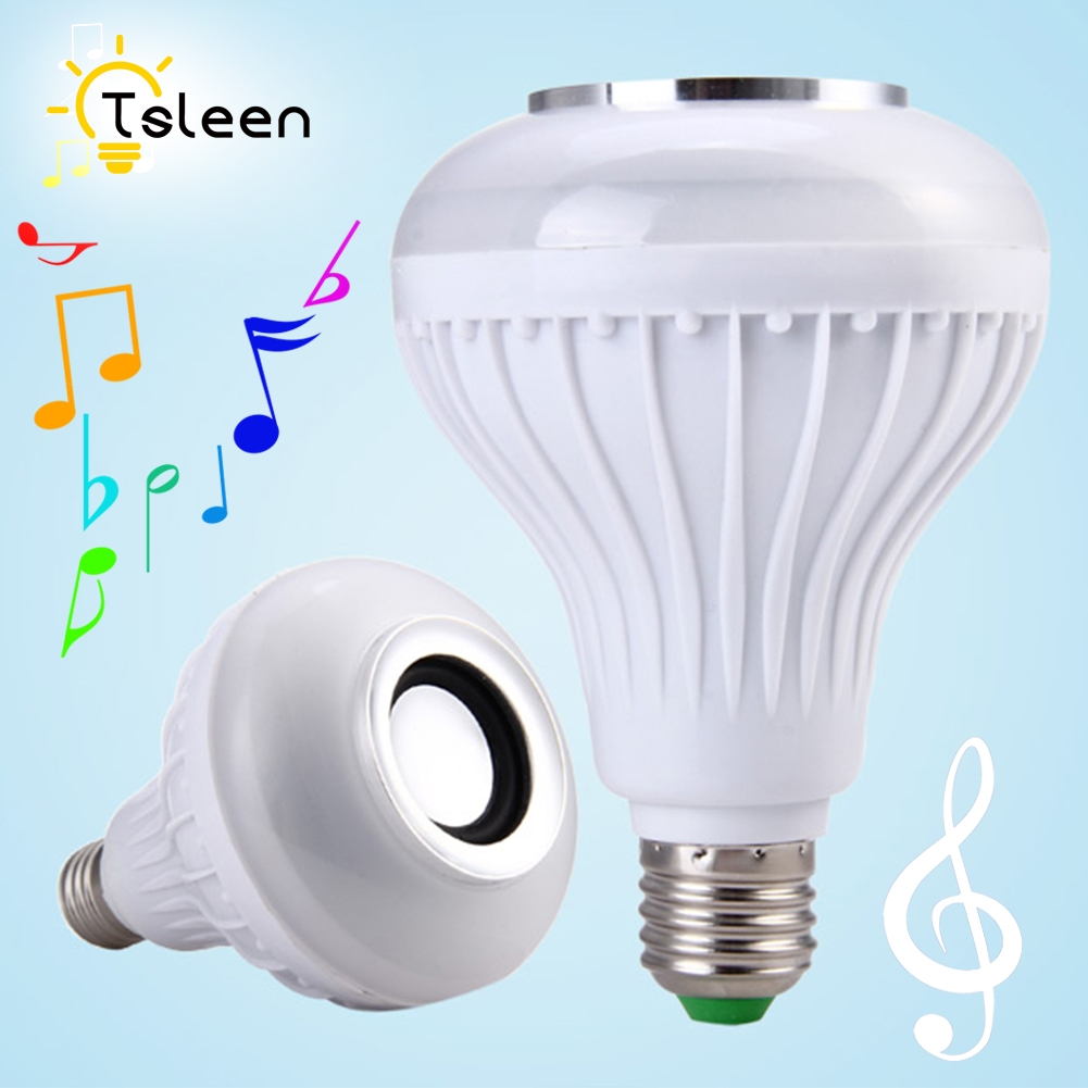 TSLEEN RGB Wireless Bluetooth Speaker Bulb Music Playing 12W Energy Saving RGBW Soptlight E27 LED Light Lamp With Remote Control szyoumy e27 rgbw led light bulb bluetooth speaker 4 0 smart lighting lamp for home decoration lampada led music playing