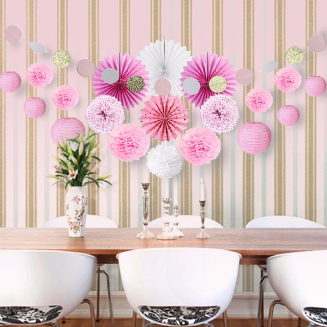 Pink theme wedding birthday party decoration paper fans pompoms pink theme wedding birthday party decoration paper fans pompoms paper lantern banner decor for festive party junglespirit Gallery