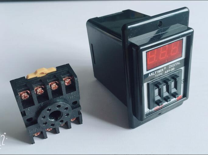 digits programmable timer delay relay ASY-3D Delay Timer Time Relay 1-999S 8PIN with base DC12V DC24V AC110V AC220V 5 set lot asy 3d 1 999s ac 220v power on delay timer digital time relay 1 999 second 220vac 8 pin with pf083a socket base