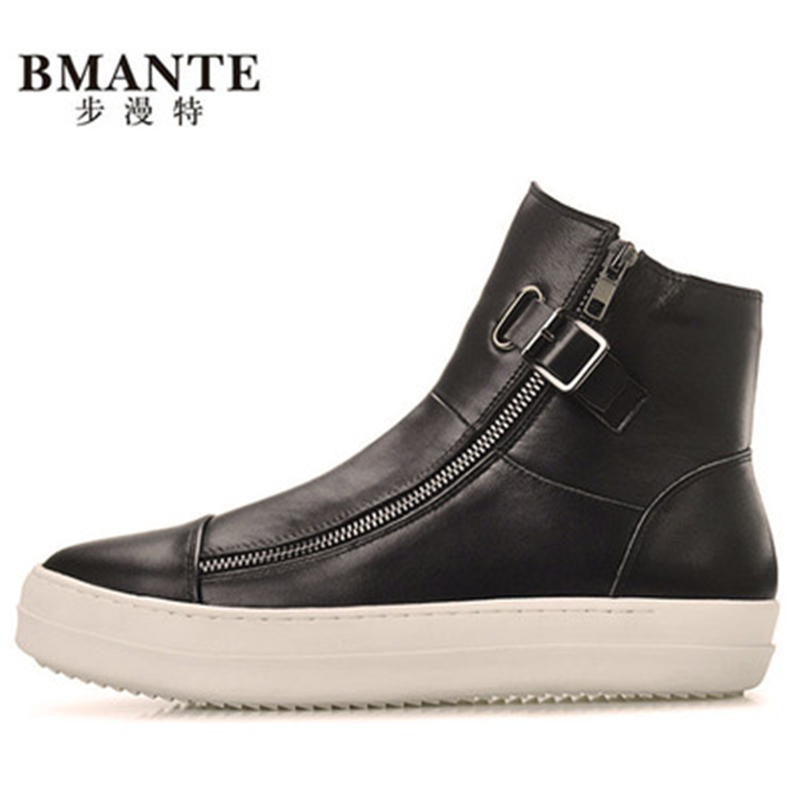 New Men Zip Flats Spring Black Shoes Winter Male Adult Ankle Boots Casual Shoes Genuine Leather Shoes Luxury Trainers new men genuine leather shoes luxury trainers summer male adult shoes casual flats solid spring black lace up shoes