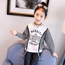 Girls T-shirt round neck loose stitching lace sleeves letter print flying sleeves shirt spring autumn cotton children's clothing grey random floral print round neck long sleeves t shirt
