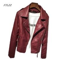 Leather Jackets Women 2017 Spring Autumn Rivet Zipper Motorcycle Faux Leather Coat Female Paragraph Lapel PU